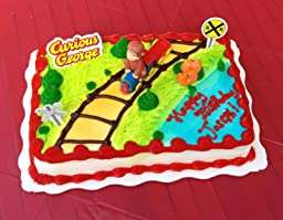 Curious George Cake Decorating Kit : Amazon.com: Bakery Crafts - Curious George Train Cake ...