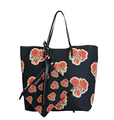 6e9f6fe6937 Amazon.com: Alexander McQueen Poppies Print Black/Red Vintage Canvas Large Tote  Bag 439733 1075: Shoes