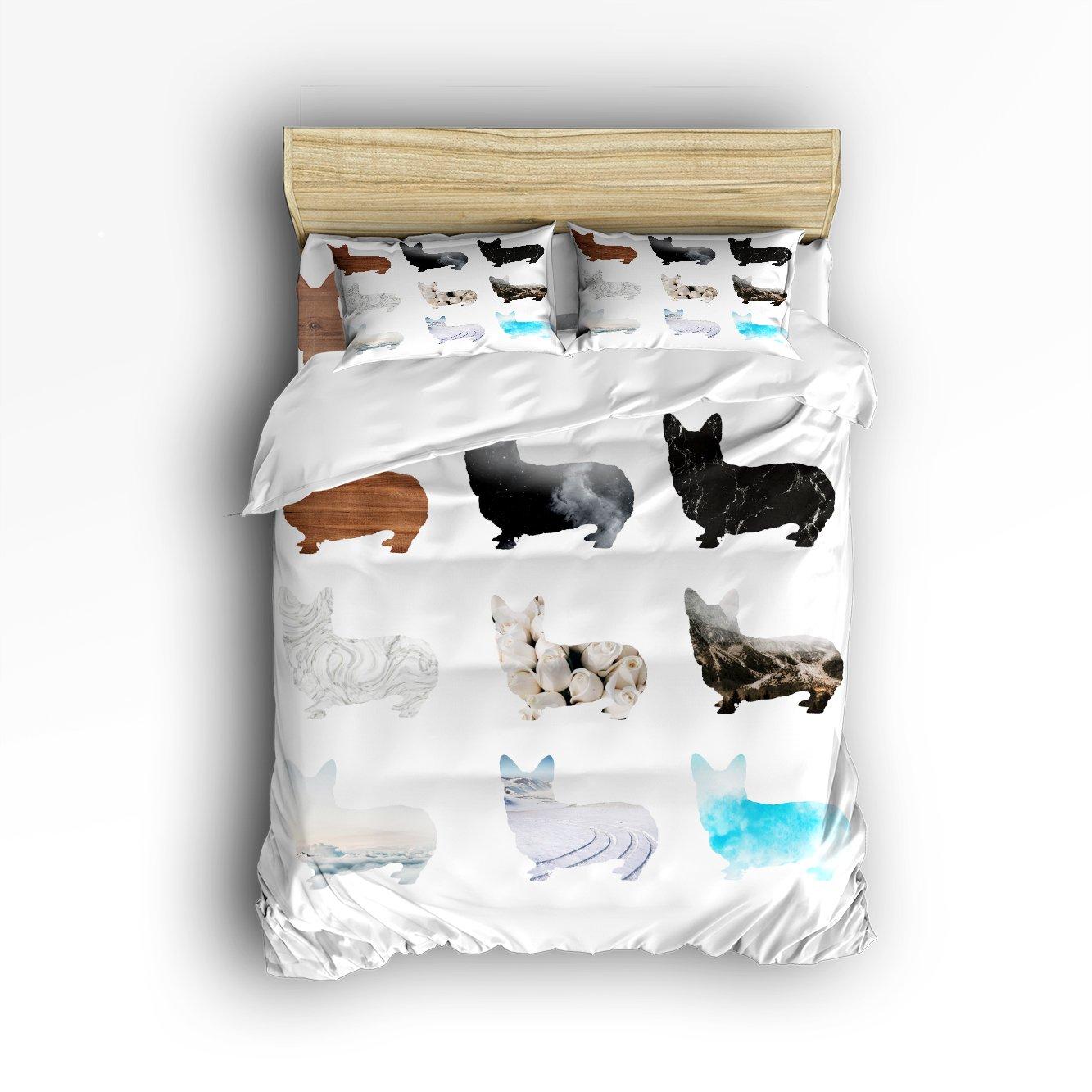 Libaoge 4 Piece Bed Sheets Set, Abstract Shape of Corgi Print, 1 Flat Sheet 1 Duvet Cover and 2 Pillow Cases