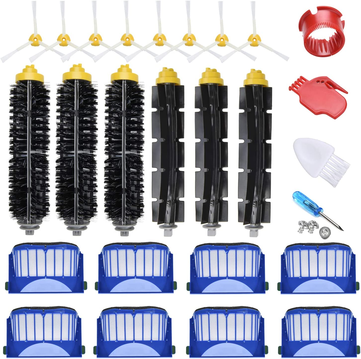 JoyBros 24-Pack Replacement Parts Compatible for iRobot Roomba Accessories 600 Series:690 670 671 680 650 614 595 585 Filter Side Roller Brush Vacuum Cleaner Replenishment Kit