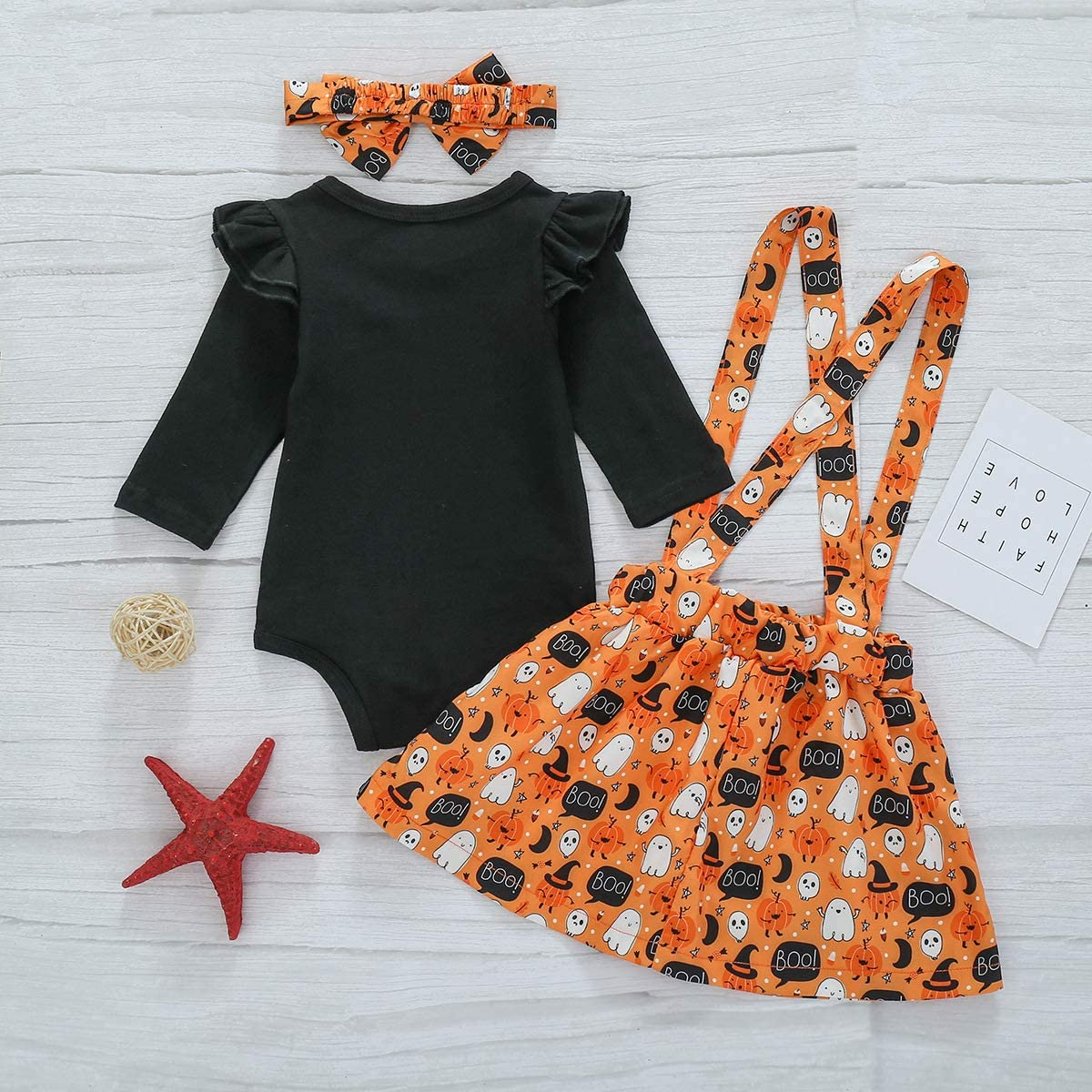 Verve Jelly Newborn Baby Girl My 1st Halloween Clothes Sets Pumpkin Print Long Sleeve Romper+Smile Suspender Skirt+Headband