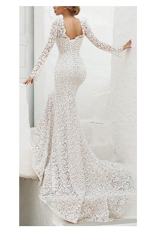 Z Elegant V Neck Lace Wedding Dresses Bride Long Mermaid Vestidos de Novia Women Sleeves: Clothing