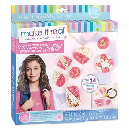 Make It Real - Gold and Glitter Accent Jewelry. DIY Necklace and Pendant Making Kit for Girls. Arts and Crafts Kit Guides Kids to Create Unique Gold ...