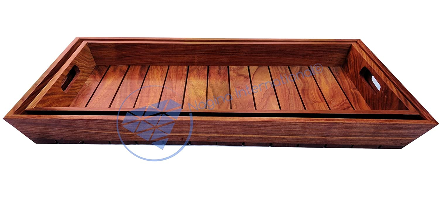 Large Premium Wood Hand Crafted Serving Trays.