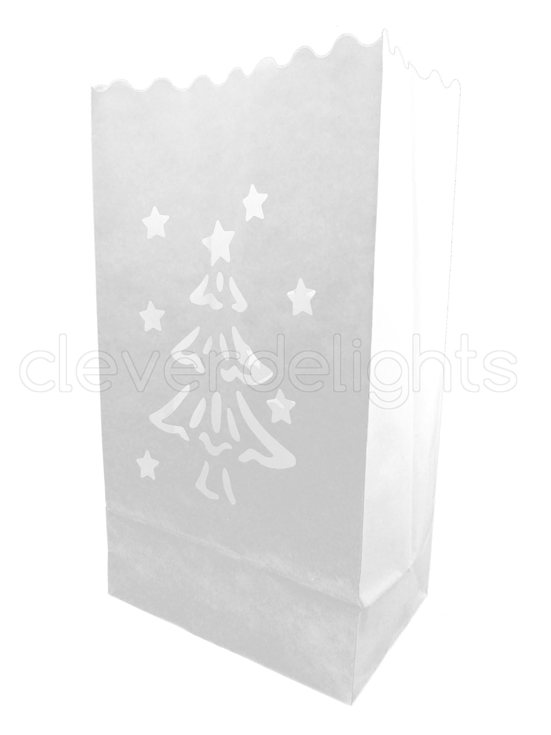 CleverDelights White Luminary Bags - 30 Count - Christmas Tree Design - Flame Resistant Paper - Christmas Holiday Outdoor Decorations - Party and Event Decor - Luminaria Candle Bag - Thirty Bags