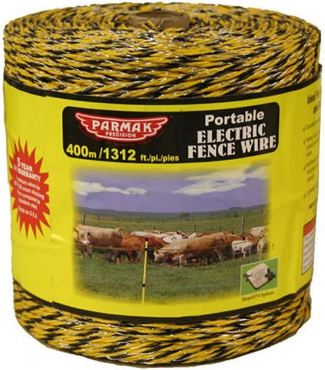 Yellow Black Polywire Fencing Conductor Horse Livestock Field Farm 1312 ft Roll