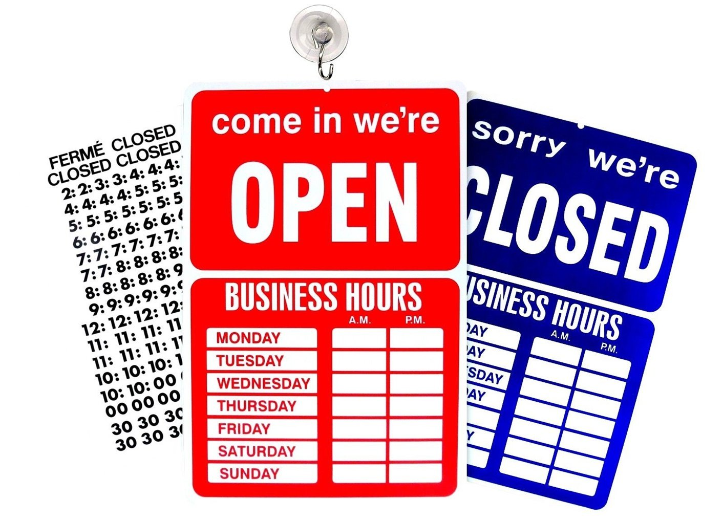 1 Set Heart-Stirring Unique Open Closed Sign Business Hours Plastic Vinyl Letters Window Adhesive Post Tools Home Hour Large Signs Indoor Poster House Printed Lawn Pole Hr Decals Size 9''x14'' w/ Hook