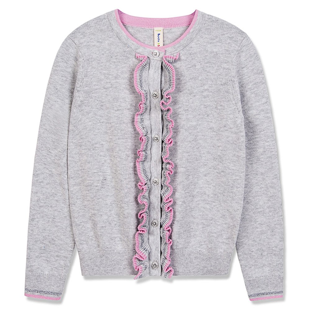 Benito & Benita Girls' Sweater Crew Neck Cardigan Soft Cotton Long Sleeve Sweaters for 3-12Y