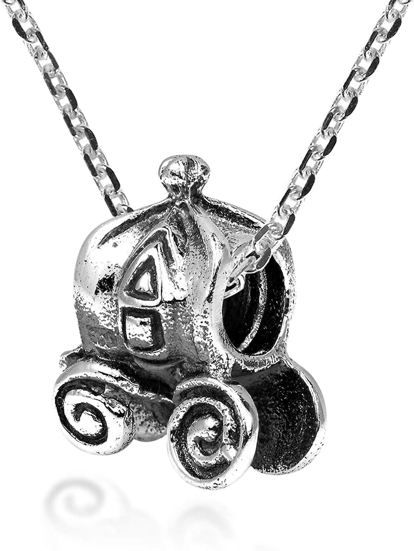 AeraVida Enchanting Pumpkin Carriage Cart .925 Sterling Silver Bead Story Pendant Necklace