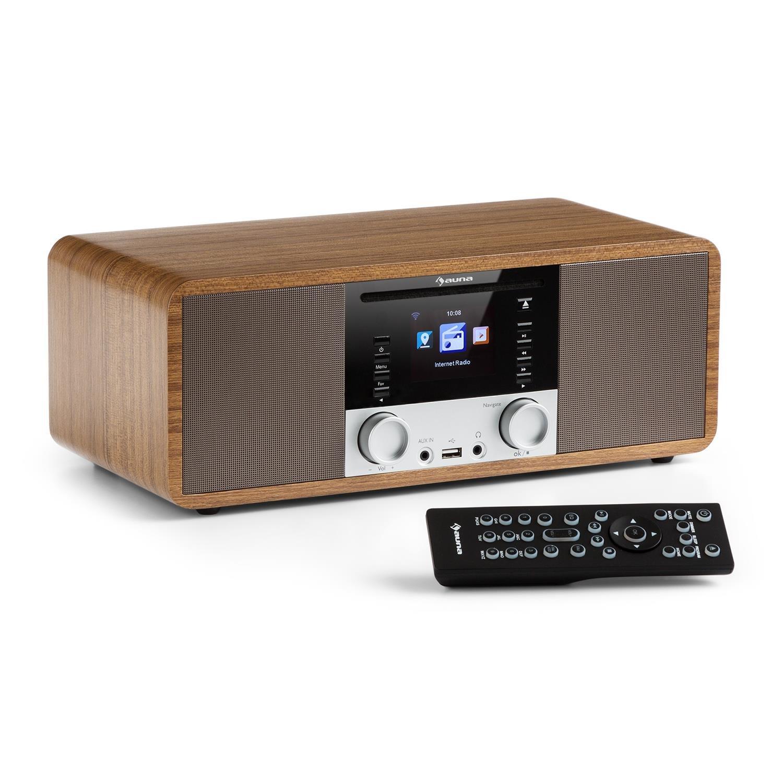 UKW Radio Wecker USB-Port Netzwerkplayer AUNA IR-190BK WLAN-Radio schwarz Internetradio 2 x 8 W RMS Bluetooth AUX-Eingang Digitalradio TFT-Farbdisplay New Edition Timer