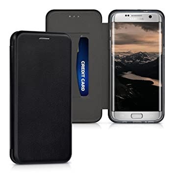 kwmobile Funda para Samsung Galaxy S7 edge - Carcasa para móvil de cuero sintético - Case plegable en negro