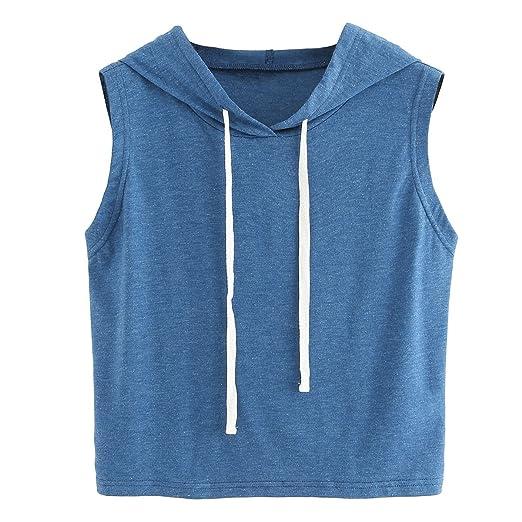 f4a7d96c SweatyRocks Women's Summer Sleeveless Hooded Crop Tank Top T-shirt Blue XS