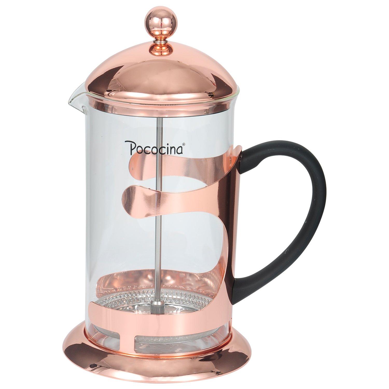 Cafetera de Prensa Café Francés de 8 Tazas de 1000ML y Émbolo de Té de Pococina para el Hogar y la Oficina en Interiores y al Aire Libre, 1L/34 OZ (Oro ...