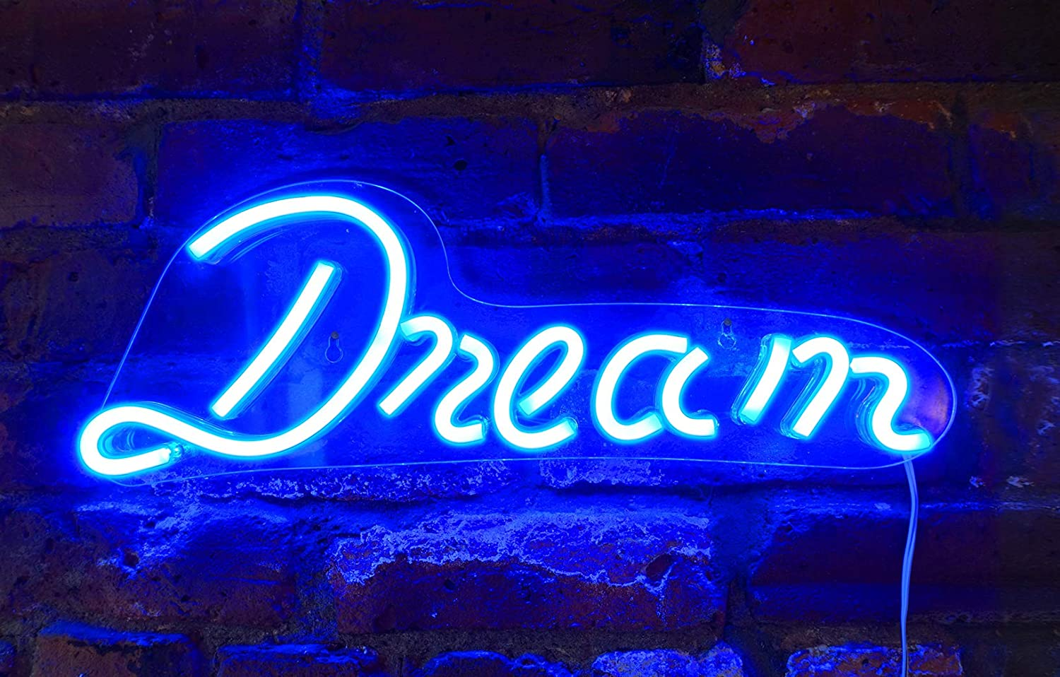 "Isaac Jacobs 17"" by 6"" inch LED Neon Blue ""Dream"" Wall Sign for Cool Light, Wall Art, Bedroom Decorations, Home Accessories, Party, and Holiday Decor: Powered by USB Wire (Dream)"