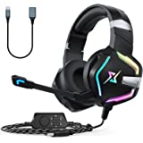 Targeal 7.1 Surround Sound Gaming Headset for PS4 PS5 PC Laptop Tablet Mobile, Over Ear Wired USB Gaming Headphones with Omni