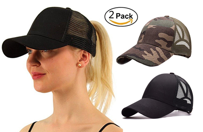 M_Eshop 2 Pack of Ponytail Baseball Cap Hat Ponycap Messy High Bun Ponytail Adjustable Mesh Trucker Baseball Cap Hat for Women Men Girl (Black+Camouflage)