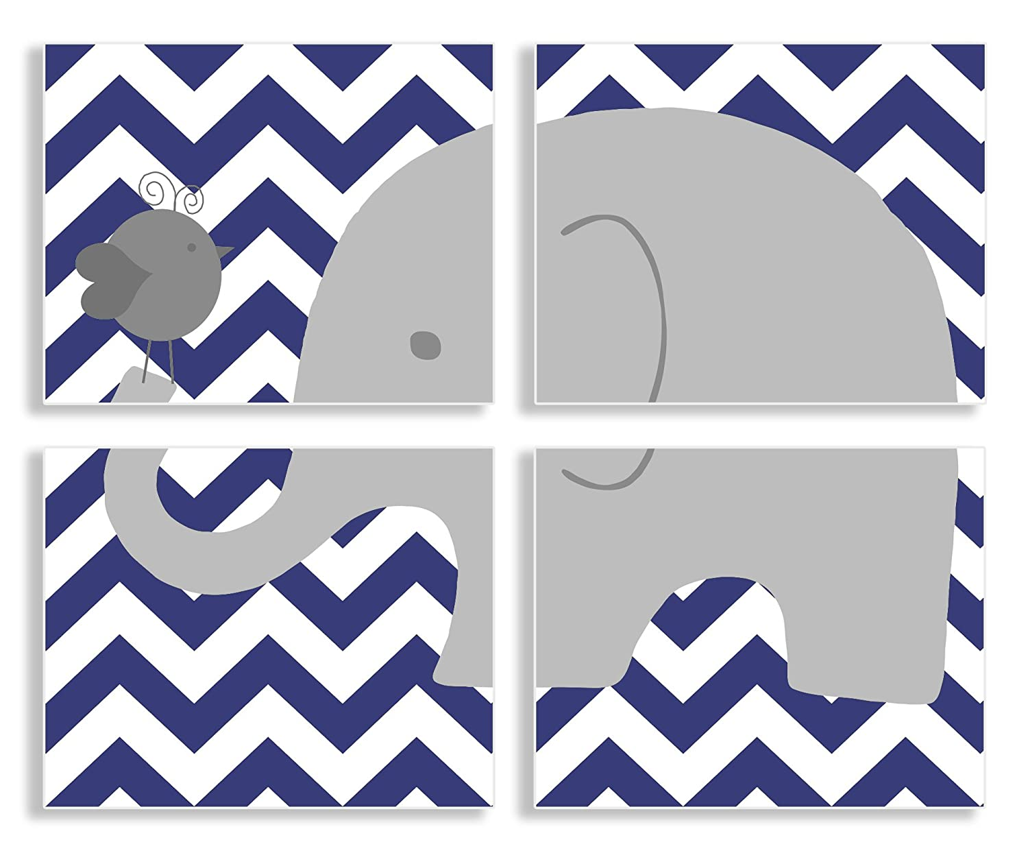 Rectangle Wall Plaque Set Proudly Made in USA The Kids Room by Stupell The Kids Room By Stupell Gray Elephant And Birdie On Blue Chevron 4-Pc KIDTJ brp-1460 quad navy