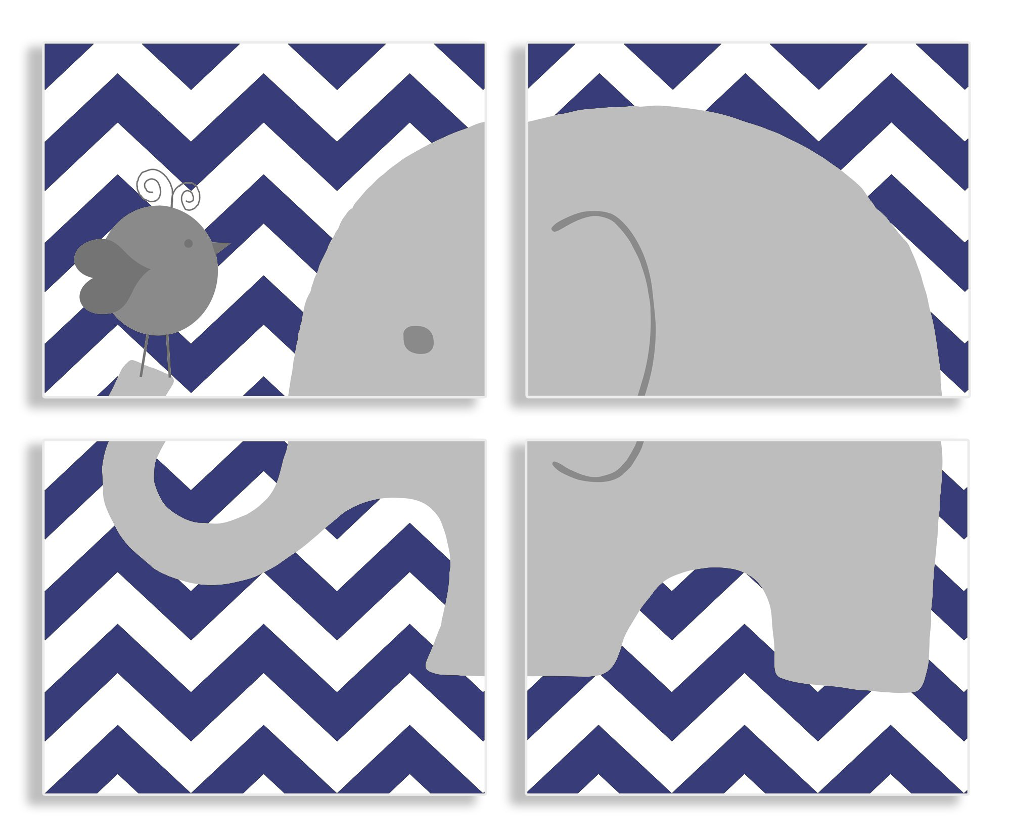 The Kids Room By Stupell Gray Elephant And Birdie On Blue Chevron 4-Pc. Rectangle Wall Plaque Set, Proudly Made in USA by The Kids Room by Stupell