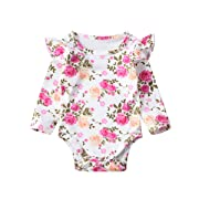 Minesiry Infant Baby Girl Floral Ruffle Romper Long Sleeve Bodysuit Tops Clothes (3-9 Months, White)