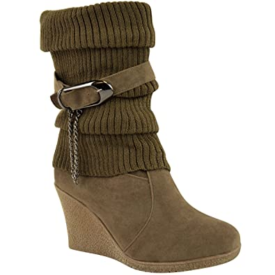 Amazon.com | Fashion Thirsty Womens Mid High Wedge Heel Knitted Warm Winter  Slouch Biker Knee Calf Ankle Boots Size 9 | Ankle & Bootie