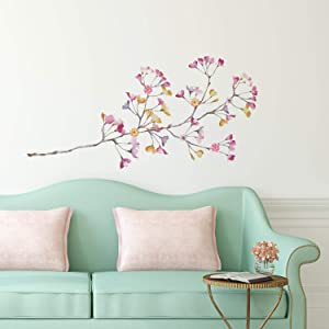 RoomMates Pastel Flowers Branch Giant Wall Decals with 3D Embellishments