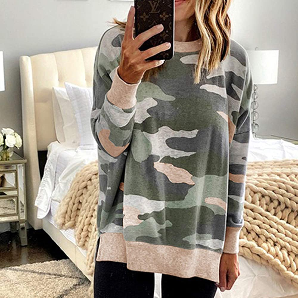 Womens Camouflage Leopard Colour Block Sweatshirt Ladies Pullover Blouse Casual