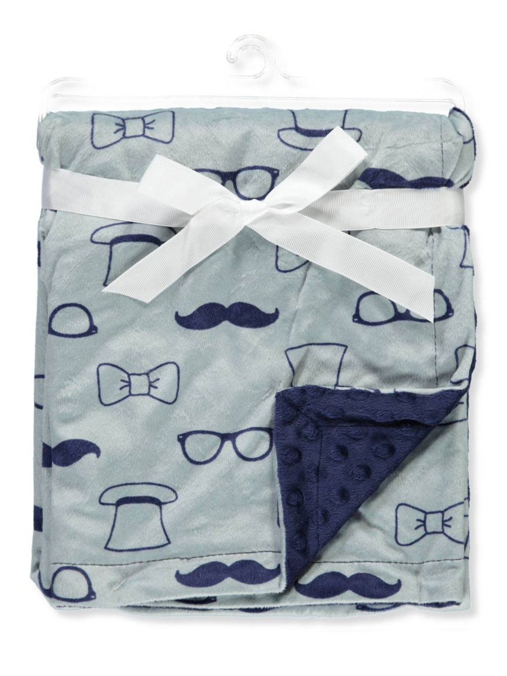 Hudson Baby Printed Mink Blanket with Dotted Backing Blue Giraffe