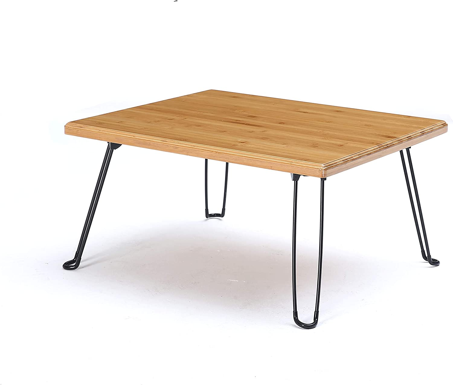 UNICOO Bamboo Wooden Rectangular Folding Table, Folding Coffee Table, Tray Table, Children's Art Craft Study Activity Table, Outdoor Picnic Table with Foldable Hairpin Metal Legs • (Nature)