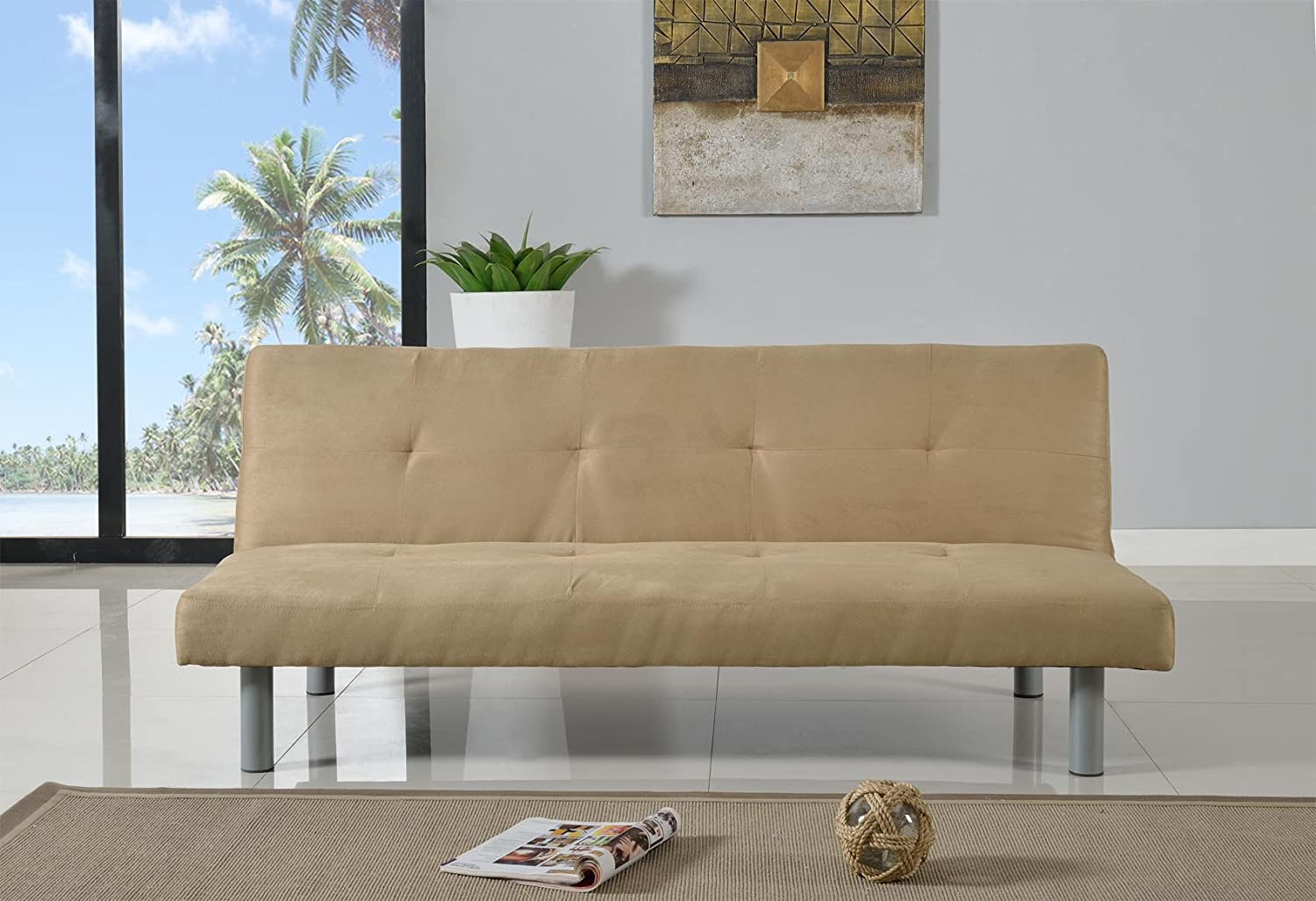 Comfy Living Faux Suede 3 Seater Quality Sofa Bed - Click Clac fabric sofabed in CREAM