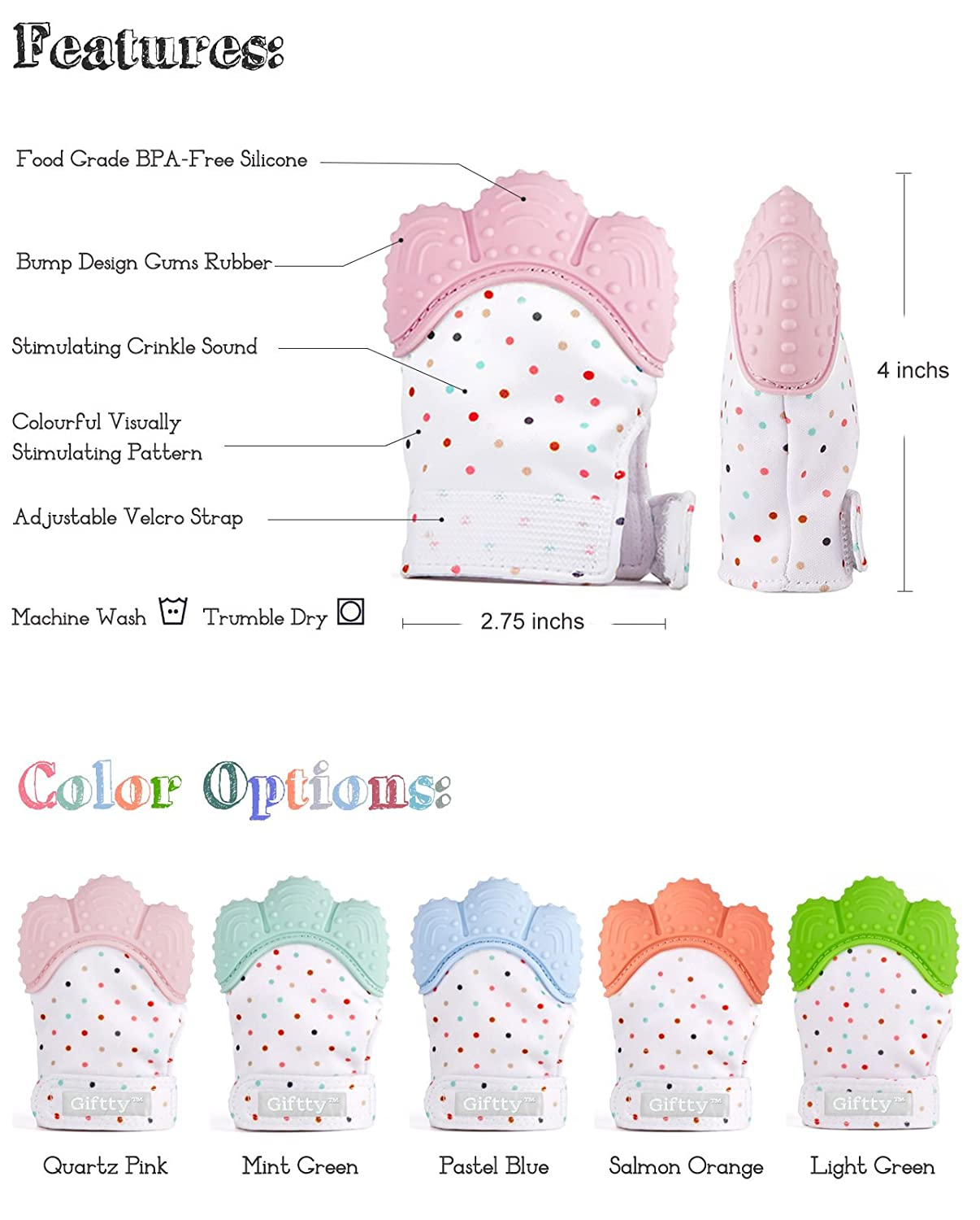 Giftty 2 Mittens, Mint+Pink Prevent Scratches Protection Glove with Travel Bag Stay on Baby??s Hand for 0-6 Months Baby Girls Baby Teething Mittens Self Soothing Pain Relief Mitt Stimulating Teether Toy
