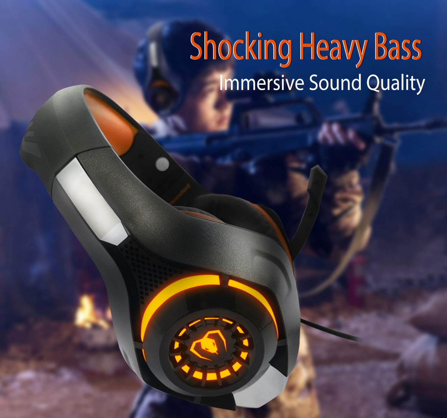Pro Gaming Headset for PC PS4 Xbox One Surround Sound Over-Ear Headphones with Mic LED Light Bass Surround Soft Memory Earmuffs for Computer Laptop Switch Games Kid s Boy s Teen s Gifts