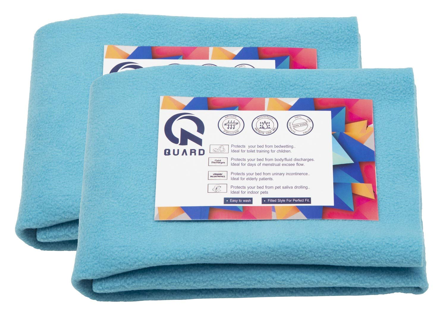 Quard Waterproof Baby Dry Sheet 70 x 50 cm (Small, Sea Blue) - Pack of 2