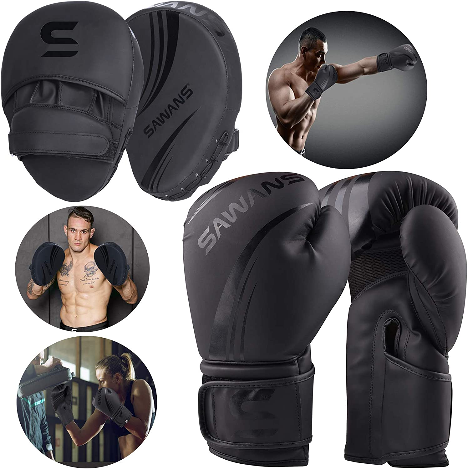Boxing Gloves and Focus Pads Set LEATHER Sparring Bag Hook Jab Gym Training MMA