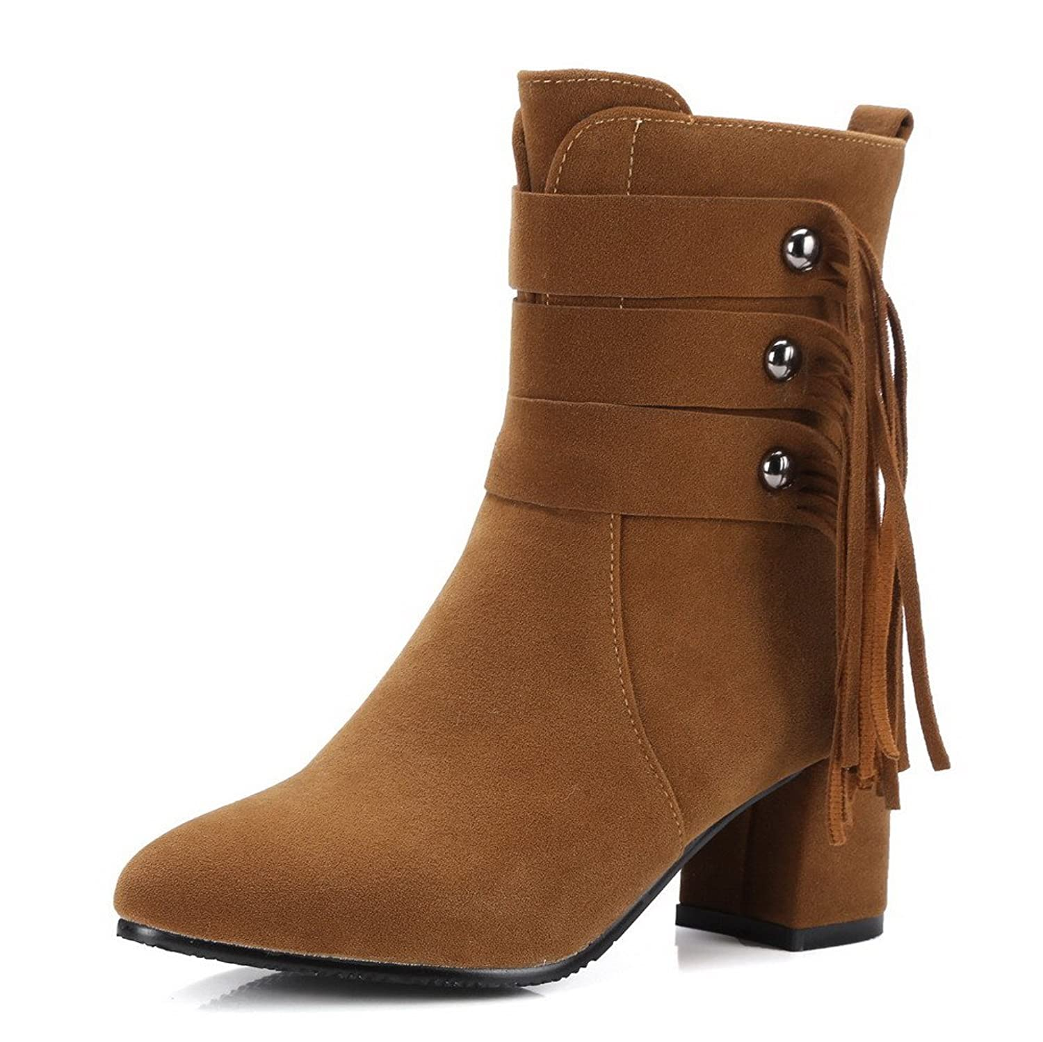 AgooLar Women's Pointed Closed Toe Kitten-Heels Frosted Low-top Solid Boots
