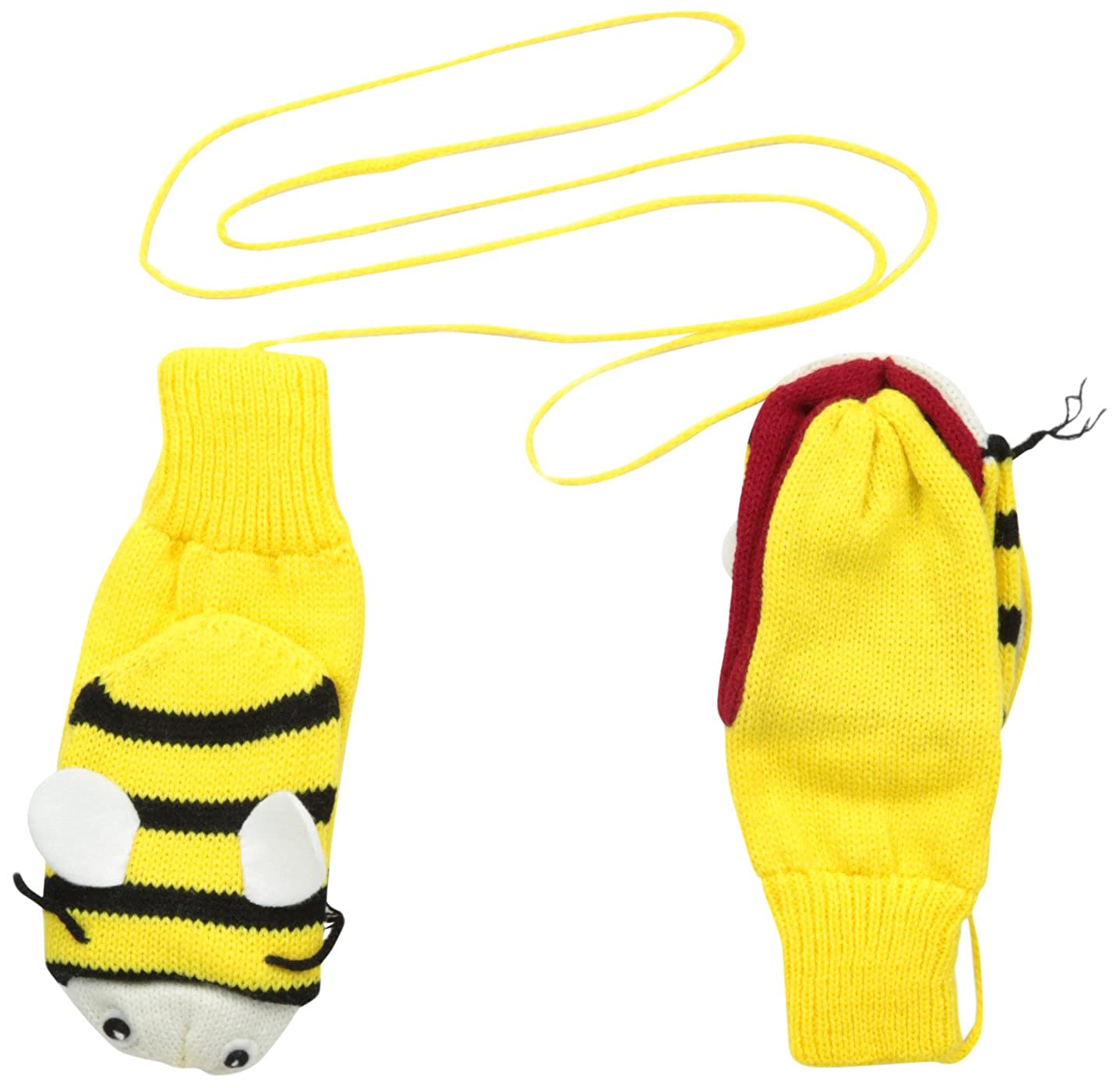 Kidorable Yellow Bee Soft Acrylic Knit Mittens With Fun Wings and Antennae 501226