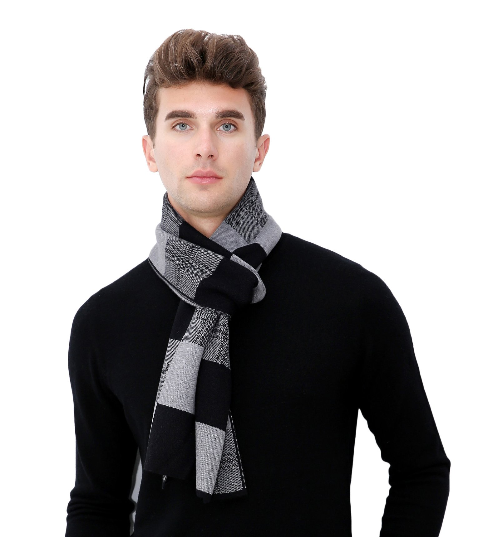 RIONA Men's Merino Wool Blend Plaid Knitted Scarf - Soft Warm Cashmere Feel Neckwear with Gift Box(Black Grey)