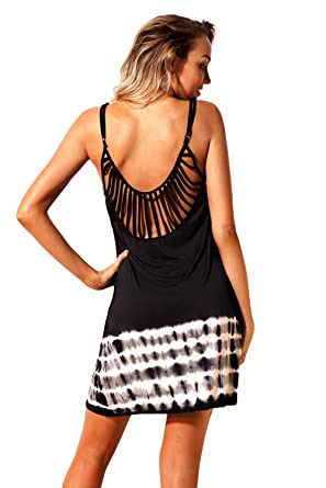 308bf265045 Image Unavailable. Image not available for. Color  Beach Cover-up Dress - Fanshaped  Strappy Back Tie Dye ...