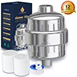 12-Stage Shower Water Filter-Shower Filter for Hard Water-Filtered Shower Head with 2 Replaceable Cartridges-Shower Filters to Remove Chlorine and Impurities-Boosts Skin and Hair Health