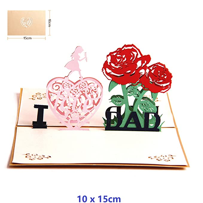 Nacodex Dad GreetiFolded Pop Up 3D Greeting Cards I Love Handmade Valentines Day Mothers