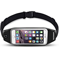 uFashion3C Running Belt Waist Pack for Phone and Keys - fits iPhone X 8 7 6s 6 Plus, Galaxy S9 S8 Plus, S7 Edge, Note 8 5, J7 - Water Resistant Reflective Fitness Workout Fanny Pack for Men and Women