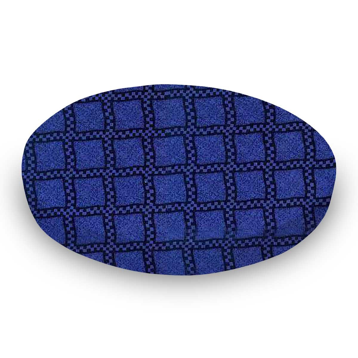 SheetWorld Fitted Oval (Stokke Mini) - Navy & Royal Wavy Check - Made In USA