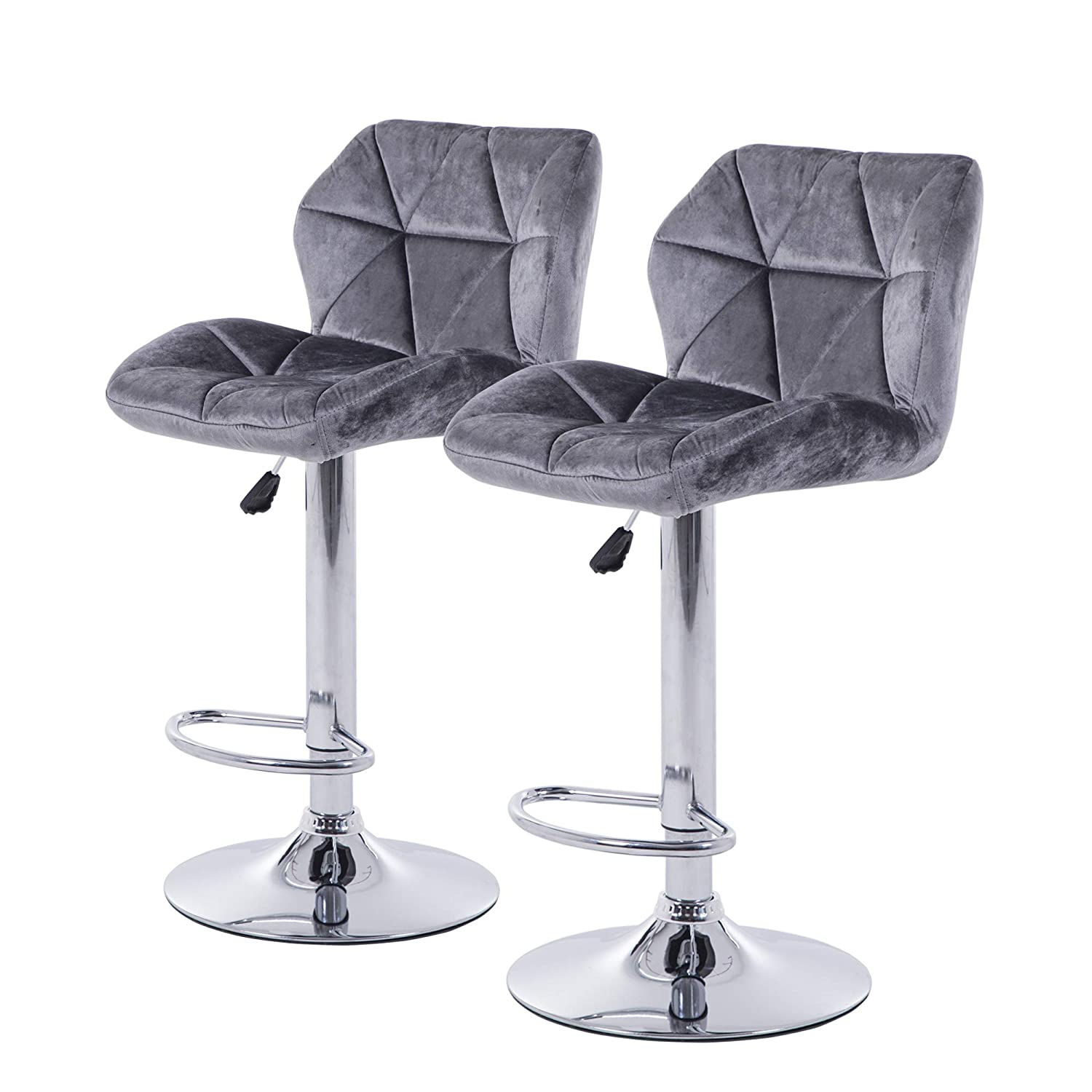 NOBPEINT Shell Back Adjustable Swivel Bar Stools, Gray Set of 2