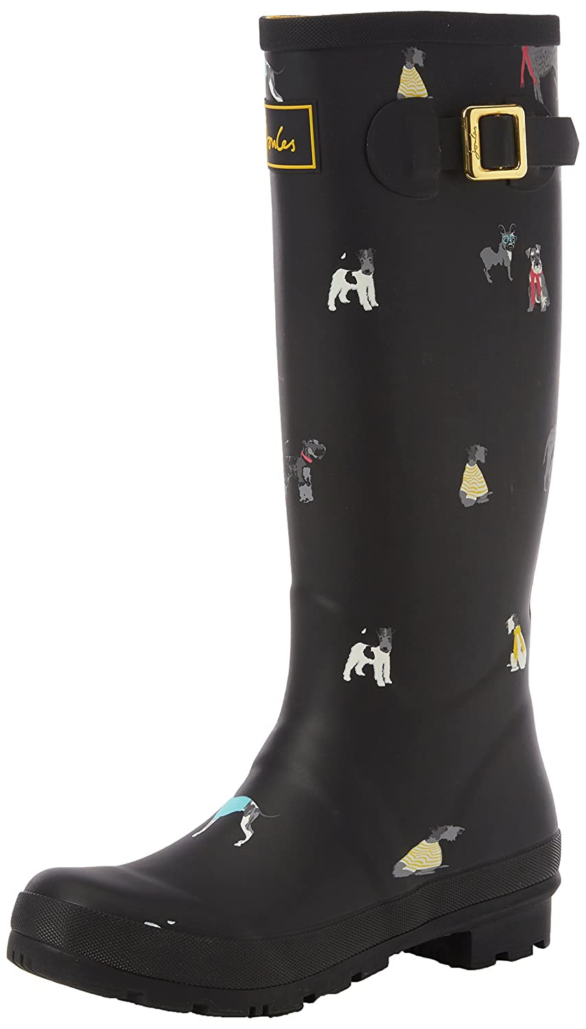 Joules Women's Welly Print Rain Boot B06XGLY22S 10 B(M) US|Black Chic Dogs