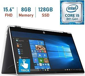 2019 HP 15.6-inch X360 2-in-1 Touchscreen FHD (1920x1080) IPS WLED-Backlit Display Laptop PC, 8th Gen Intel Quad-Core i5-8250U, 8GB DDR4 RAM, 128GB SSD, Bluetooth, HDMI, B&O Play, Windows 10 (Renewed)