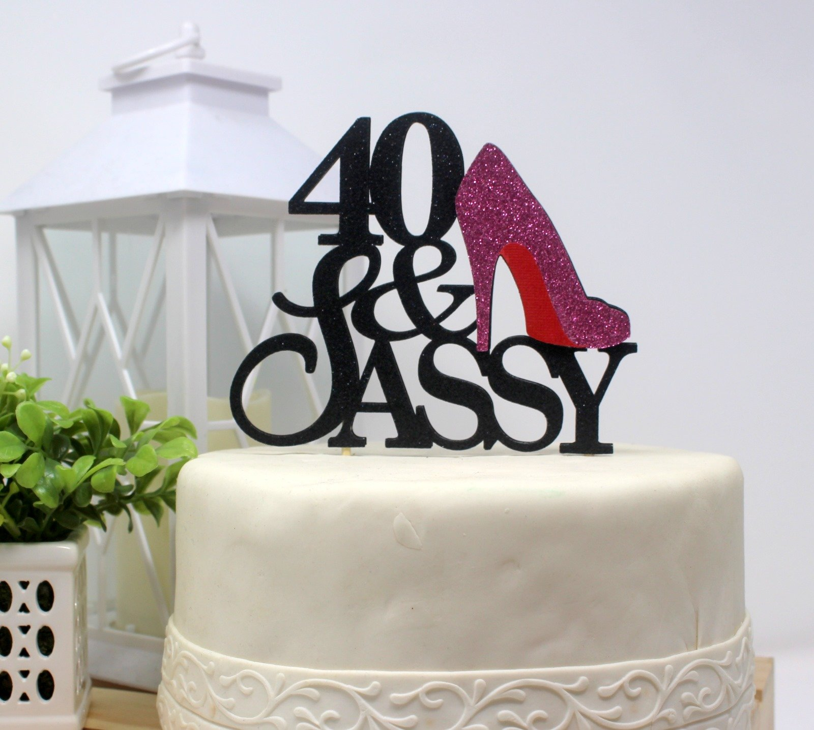 All About Details CAT40SABPI 40 and Sassy Cake Topper (Black and Pink), 6in Wide and 5in Tall with 2-pcs of 4in Wood skewers. by All About Details (Image #4)