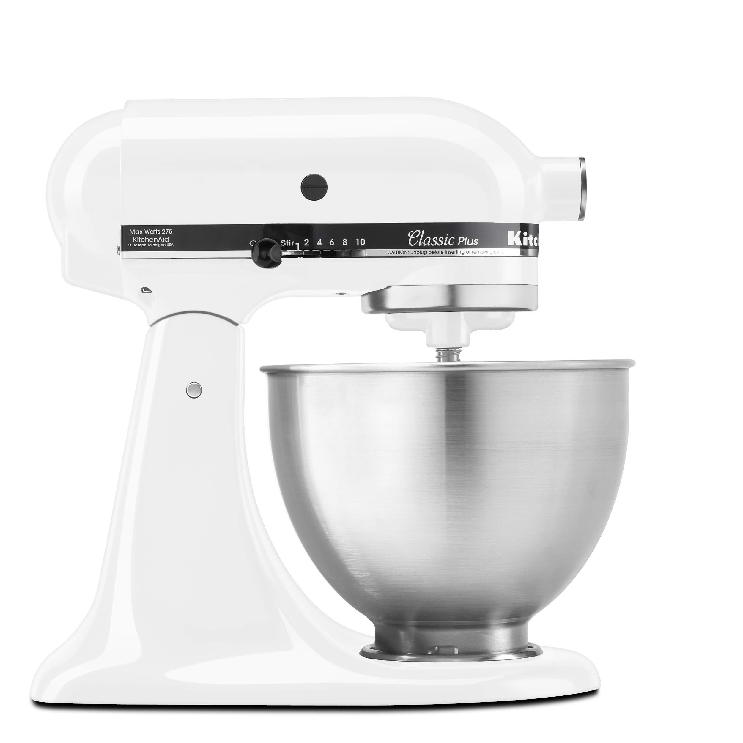 KitchenAid KSM75WH Classic Plus Series 4.5-Quart Tilt-Head Stand Mixer, White by KitchenAid