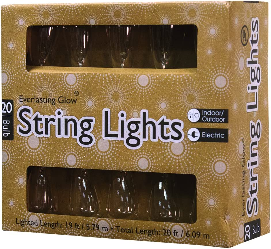Clear 6.34InL x 4.72InW x 7.83InH CWI Gifts 20 Ct Edison Patio Light String
