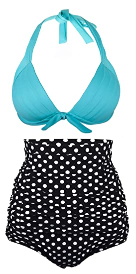 b3ac77f8ff Amazon.com: Angerella Retro Vintage Polka Dot High Waisted Bathing Suits  Swimwear(BKI053-L1-XXXL) Light Blue: Clothing