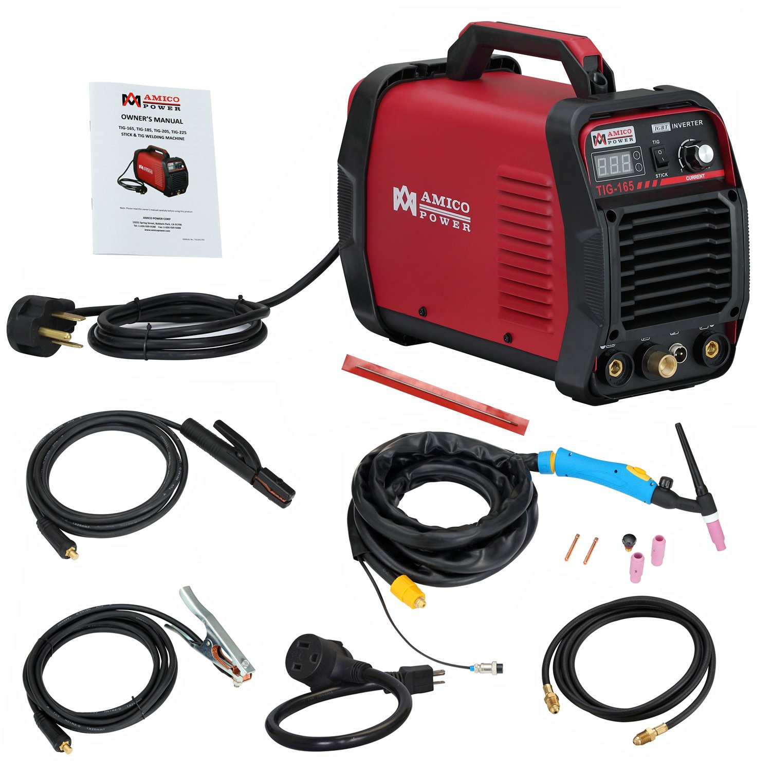 Amico TIG-165, 160 Amp TIG Torch High Frequency Start with Stick ARC Welder, 115/230V Dual Voltage Inverter Welding Machine by Amico