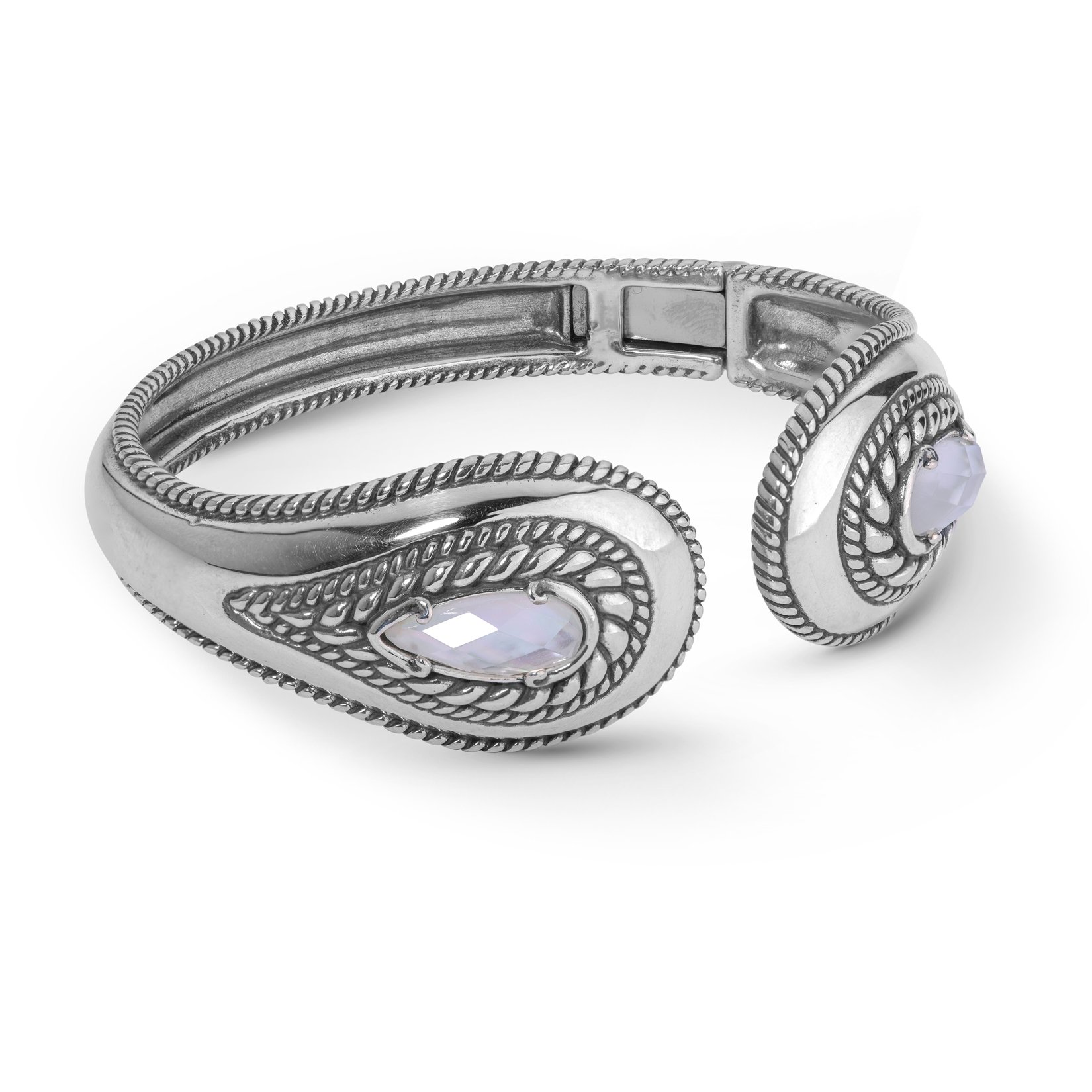 Carolyn Pollack Sterling Silver & White Mother of Pearl Crystal Quartz Doublet Hinged Bracelet